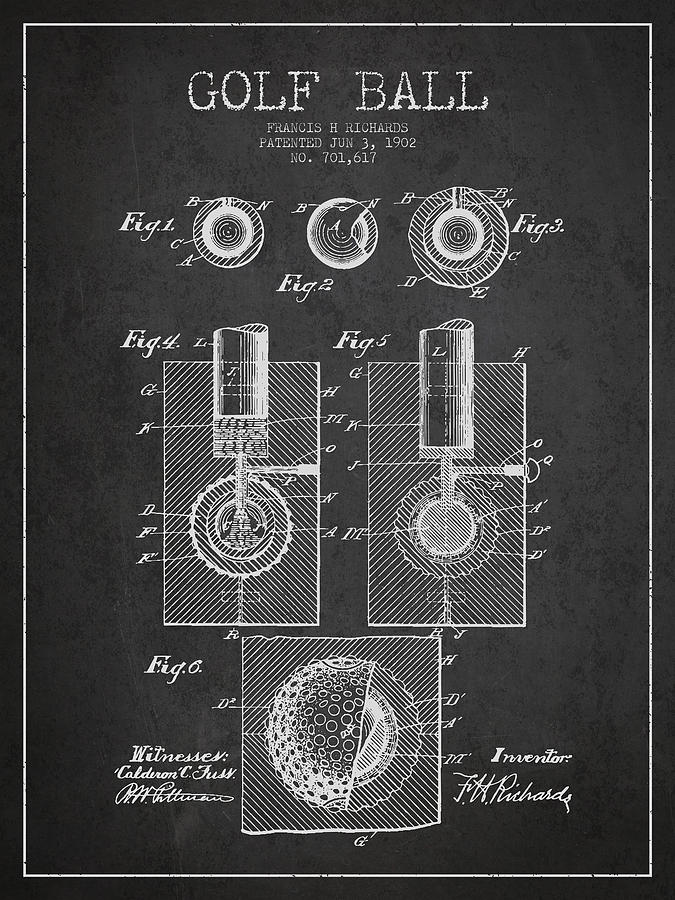 Golf Ball Digital Art - Golf Ball Patent Drawing From 1902 by Aged Pixel
