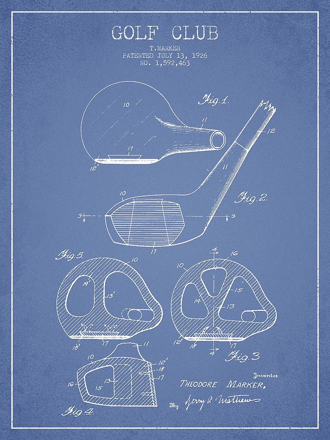 Golf Club Patent Drawing From 1926 Digital Art