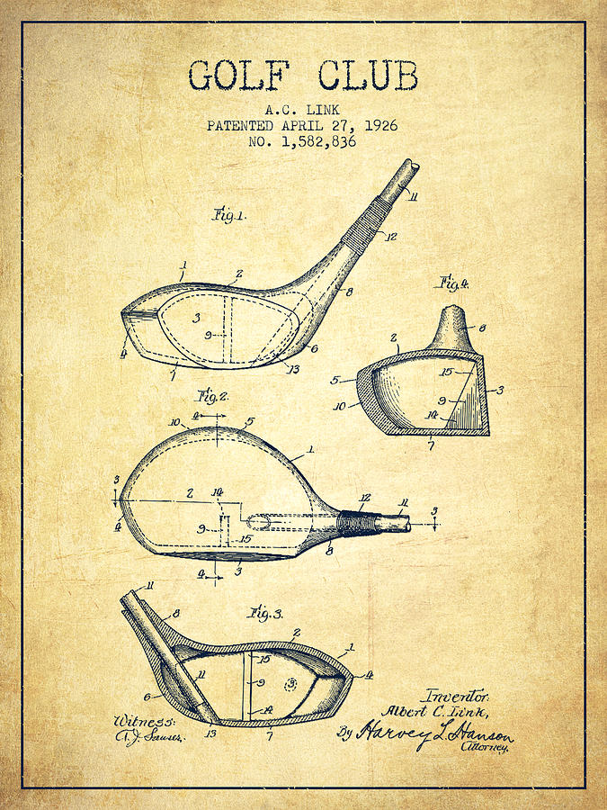 Golf Club Patent Drawing From 1926 - Vintage Digital Art