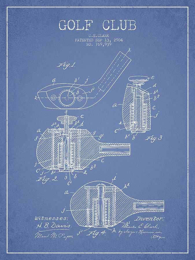 Golf Clubs Patent Drawing From 1904 Digital Art