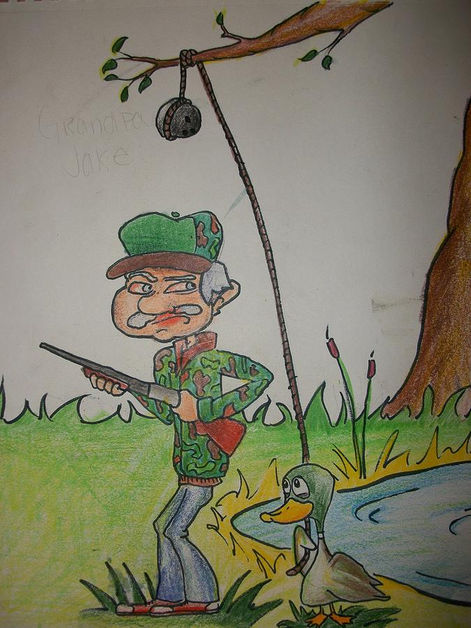 Hunting Drawing - Grandpa Jake by Jake Huenink