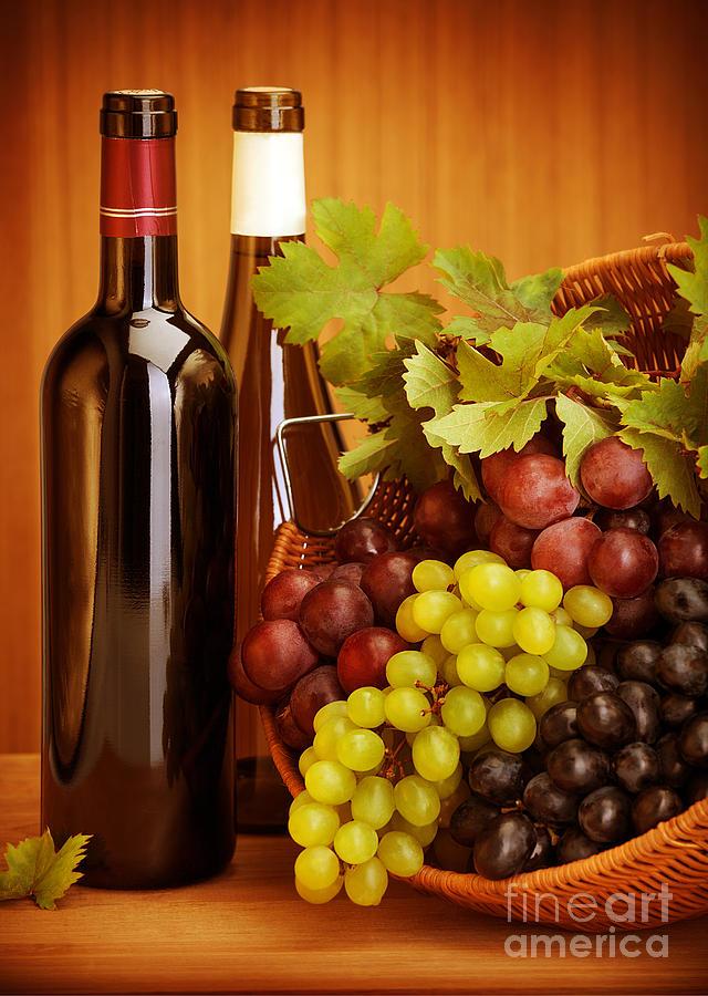 Alcohol Photograph - Grape Wine Still Life by Anna Om