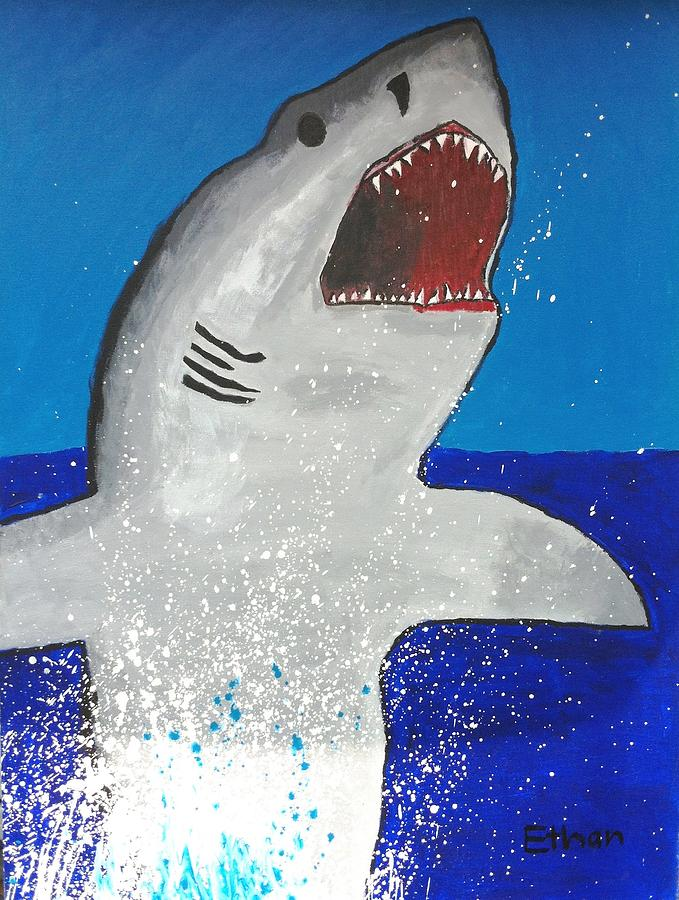 Great White Painting - Giant Great White by Ethan Chaupiz