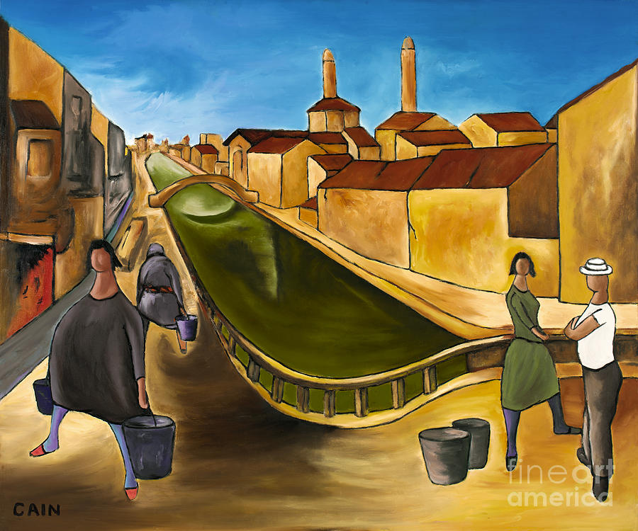 Mediterranean Architecture Painting - Green Canals  by William Cain