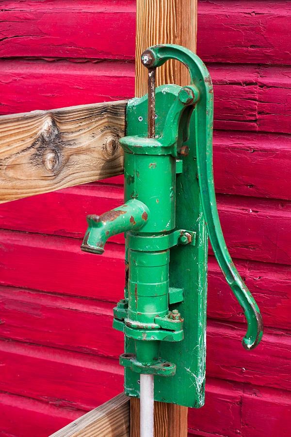 Green Manual Pump From Well Photograph