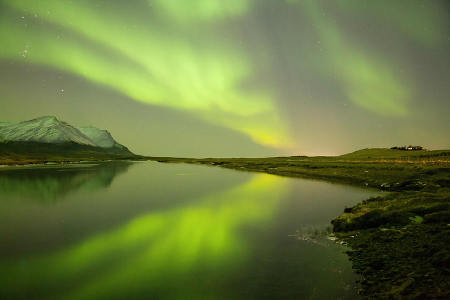 Aurora Borealis Photograph - Green Reflection by Thorir Bjorgvinsson