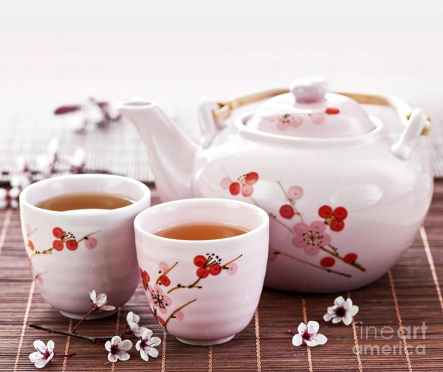 Tea Photograph - Green Tea Set by Elena Elisseeva