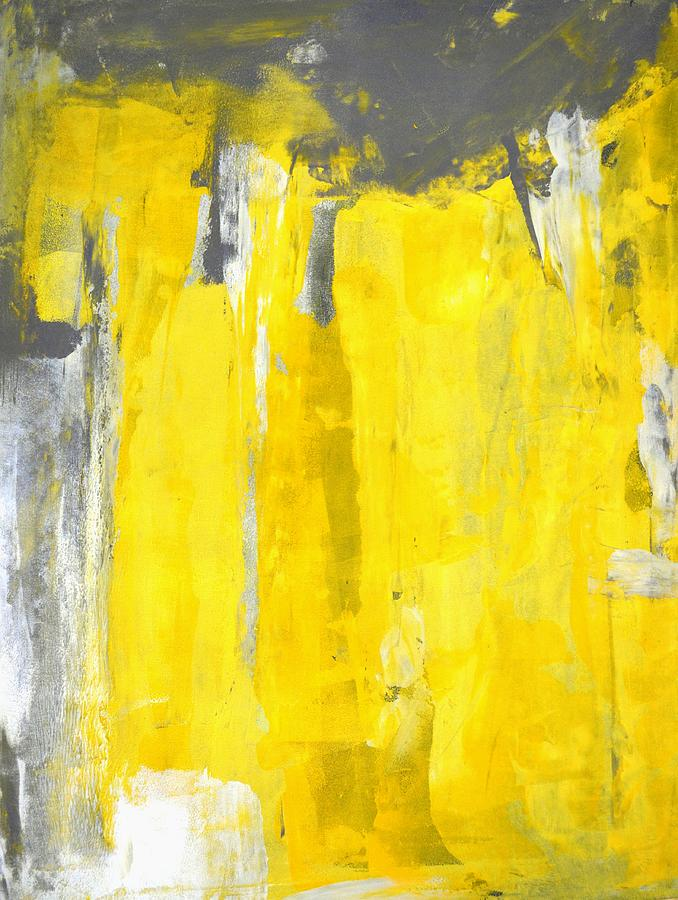 Fifth Grey And Yellow Abstract Art Painting Painting By