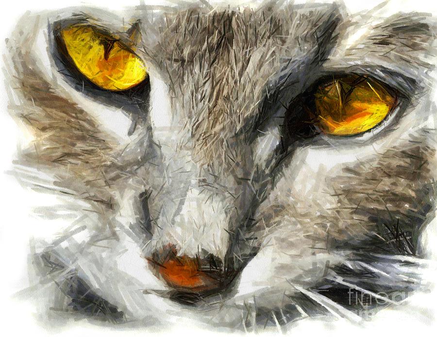 Grey Cat With Yellow Eyes Drawing Drawing By Daliana Pacuraru