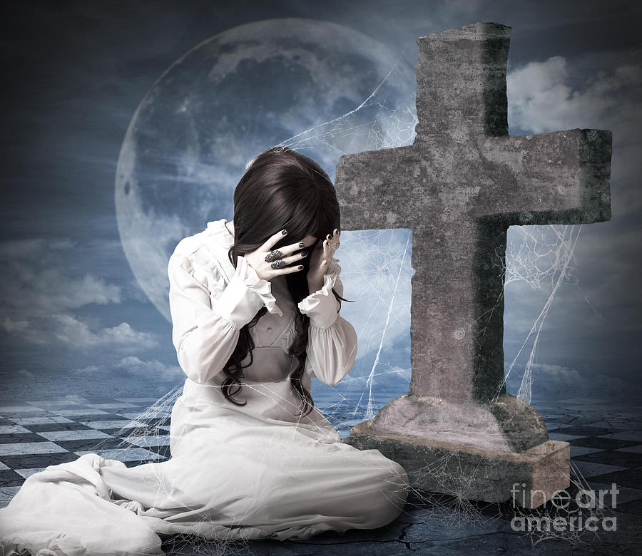 Grieving Gothic Girl Crying Next To Gravestone Photograph