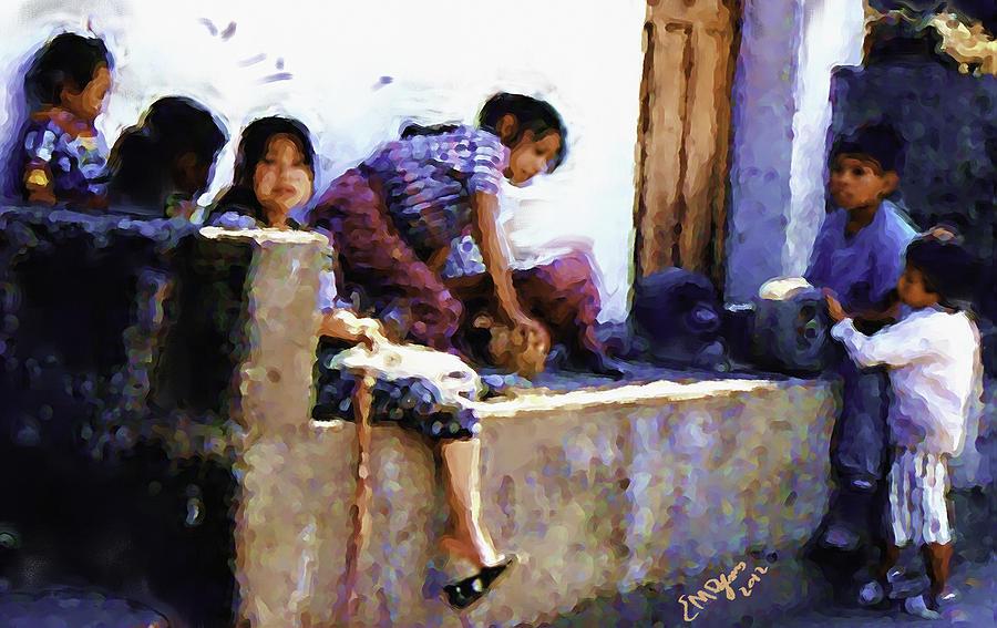 Guatemalan Children Gathered Painting by Elizabeth Iglesias