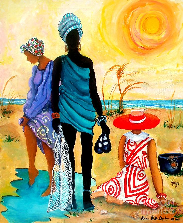 Gullah Painting - Gullah-Creole Trio  by Diane Britton Dunham