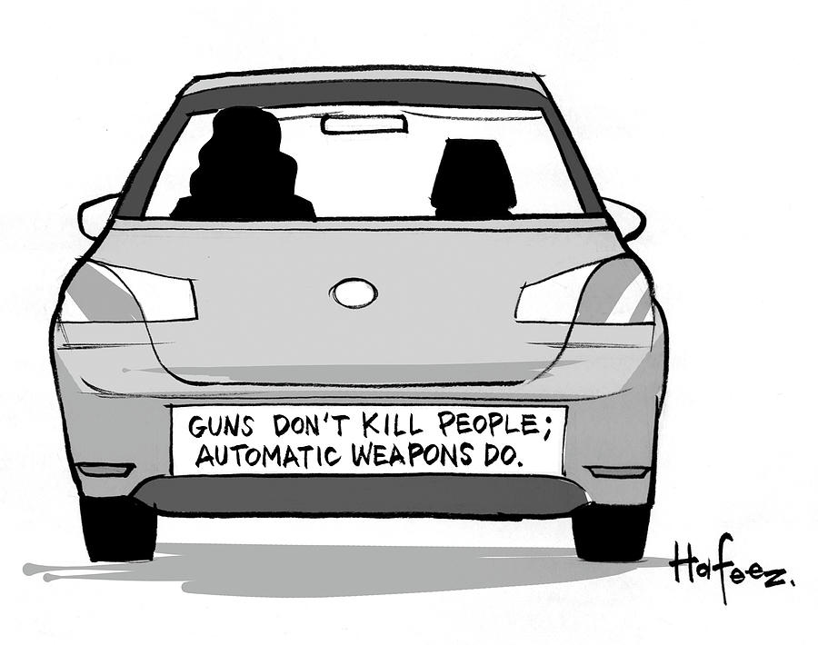Cartoon Drawing - Guns Dont Kill People Automatic Weapons by Kaamran Hafeez