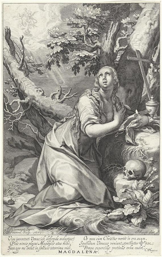 Assumption Drawing - H Penitent Mary Magdalene by Willem Isaacsz. Van Swanenburg And Cornelis Gijsbertsz. Plemp And Jacques Razet