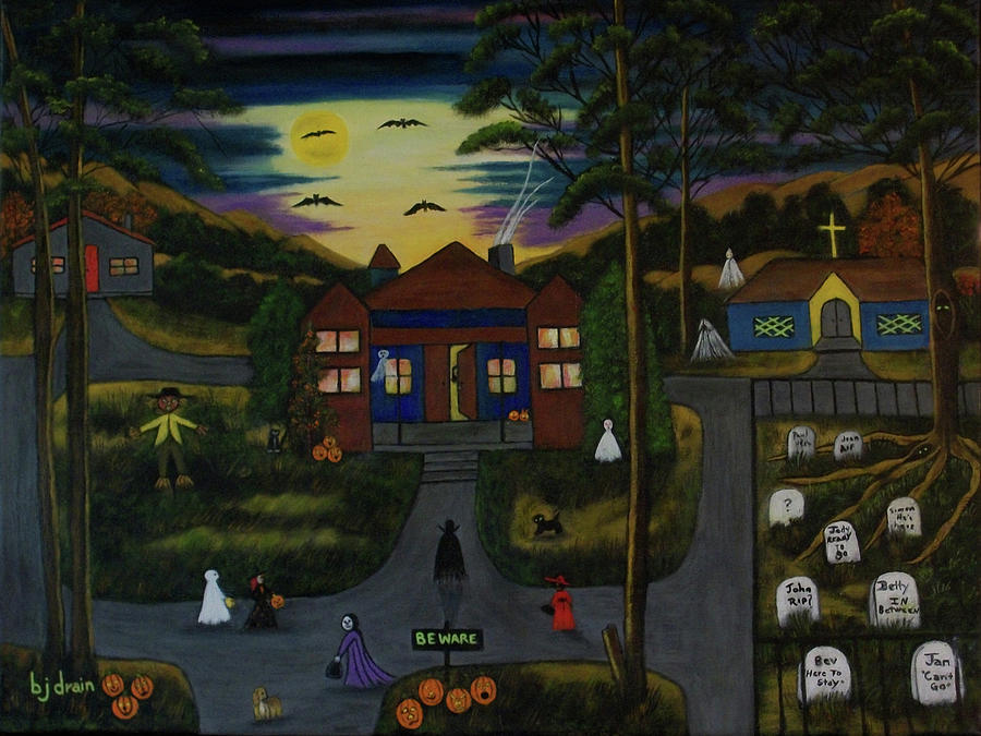 Halloween Painting - Halloween Night by Brenda  Drain