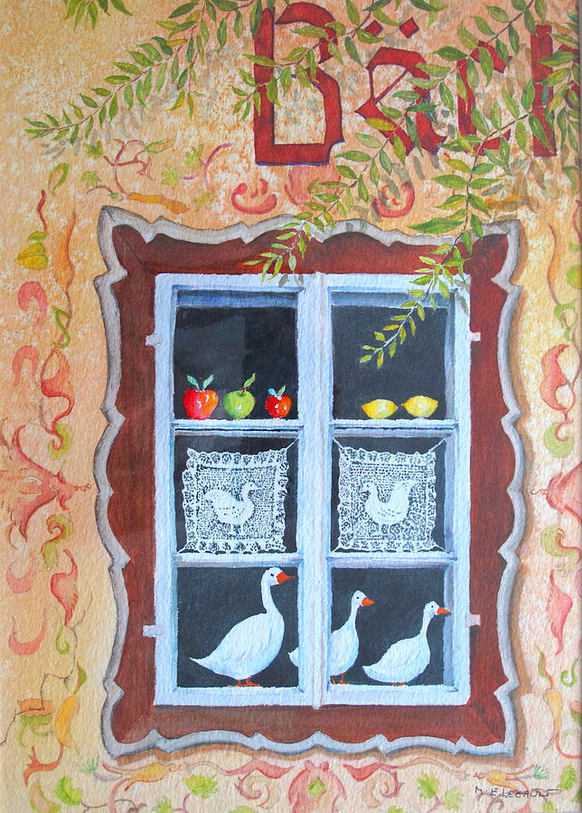 Austria Painting - Halstatt Window by Mary Ellen Mueller Legault