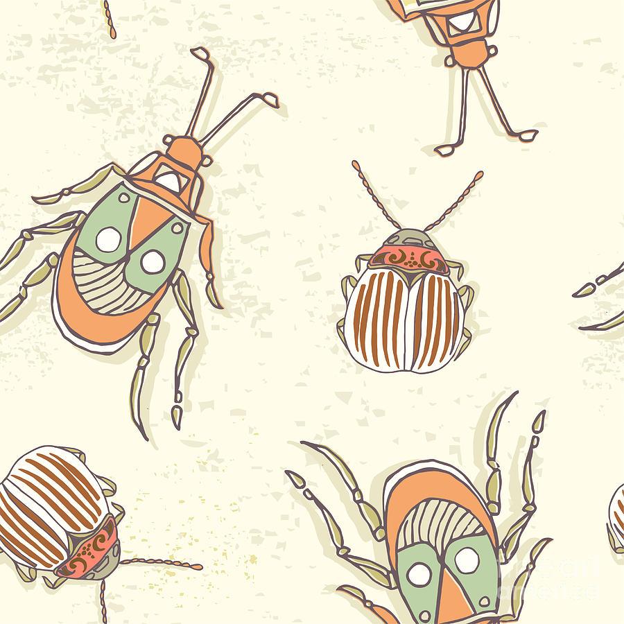 Engraving Digital Art - Hand Drawn Beetles Seamless Pattern by Olga Donskaya