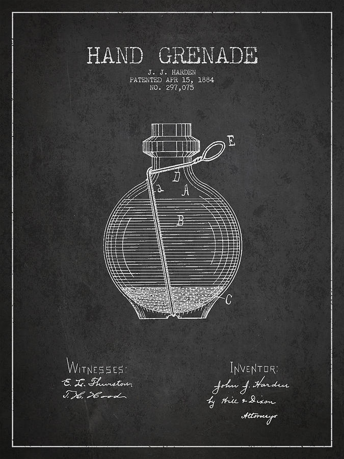 Grenade Drawing - Hand Grenade Patent Drawing From 1884 by Aged Pixel