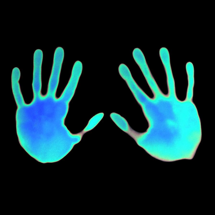 Thermochromic Photograph - Hand Prints On Thermochromic Paper by Science Photo Library