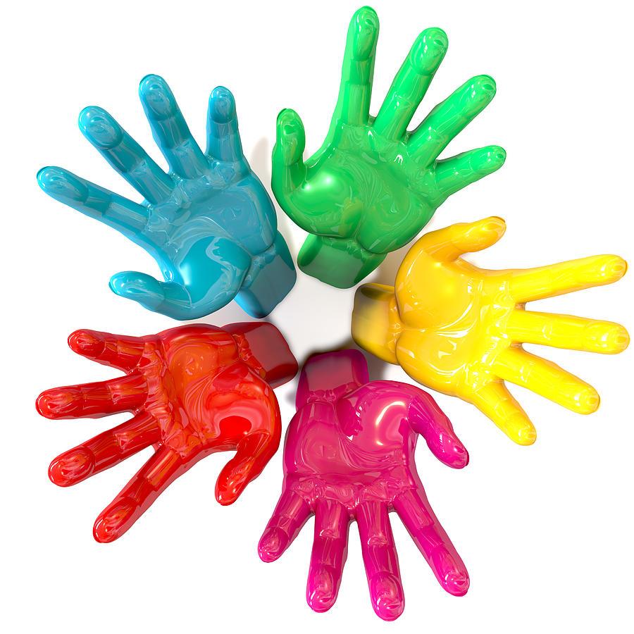 Hands Digital Art - Hands Colorful Circle Reaching Skyward by Allan Swart