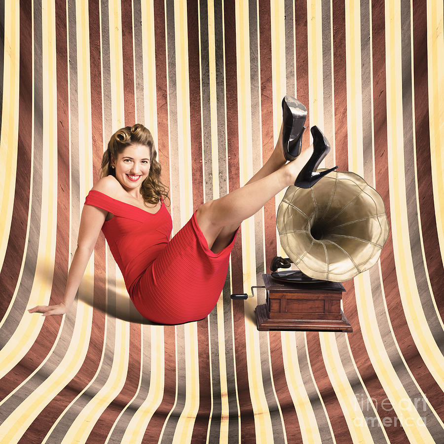 Beauty Photograph - Happy Pin Up Lady. Retro Music And Entertainment 1 by Jorgo Photography - Wall Art Gallery