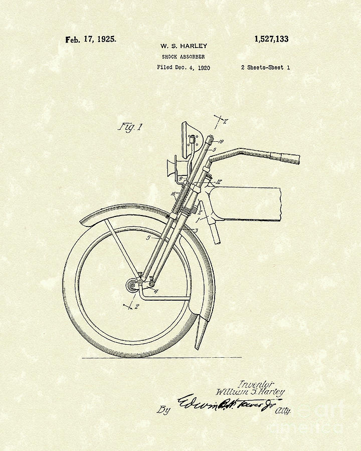 Harley Drawing - Harley Absorber 1925 Patent Art by Prior Art Design