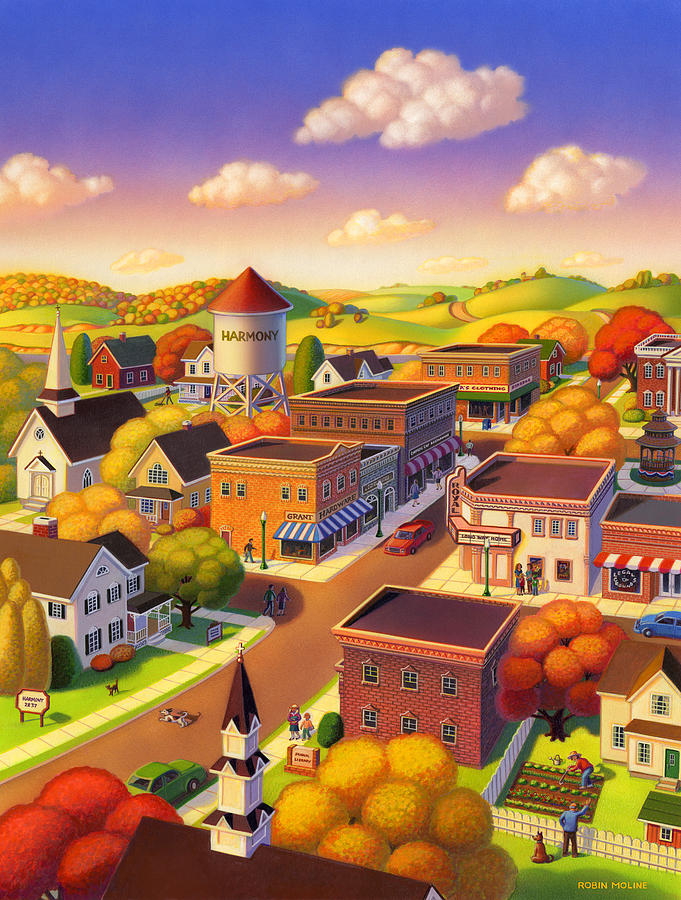 Americana Painting - Harmony Town by Robin Moline