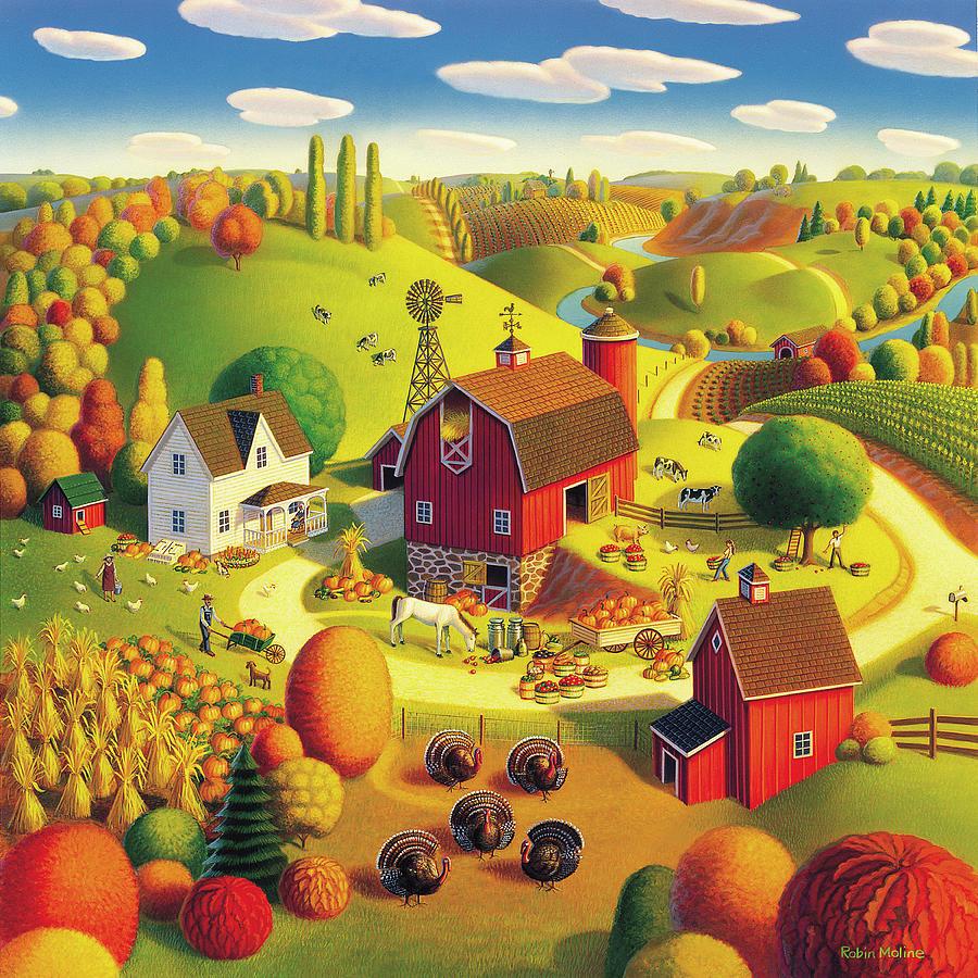 Harvest Landscape Painting - Harvest Bounty by Robin Moline