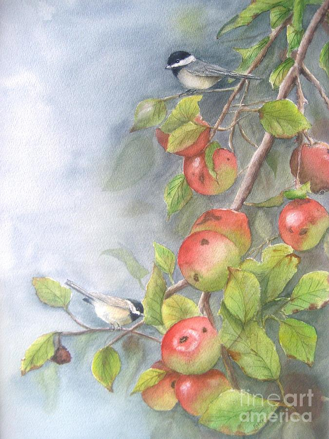 Painting Painting - Harvest Chickadees by Patricia Pushaw
