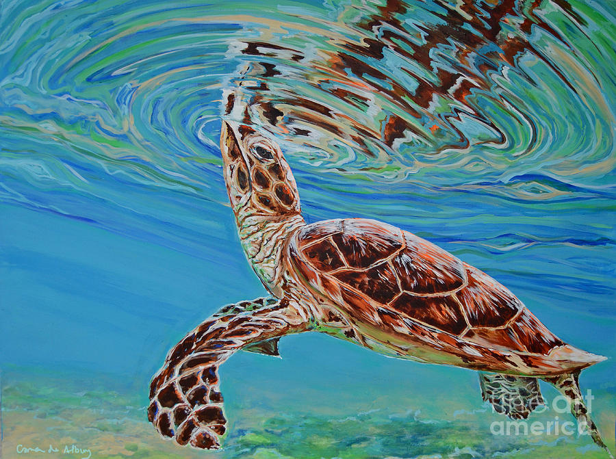Beach Painting - Green Turtle by Paola Correa de Albury