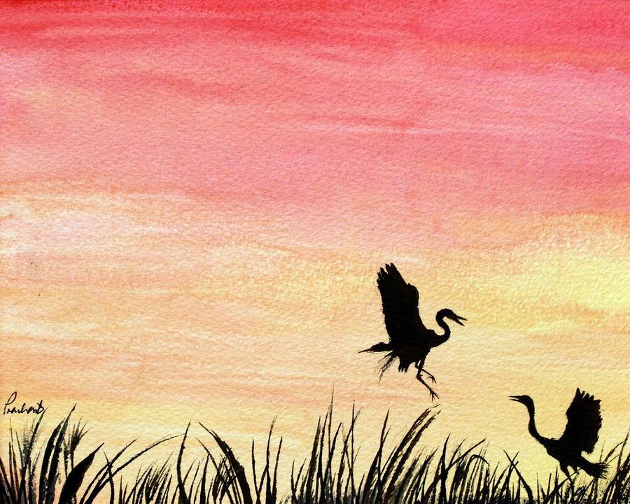 Sunset Painting - Herons At Sunset by Prashant Shah