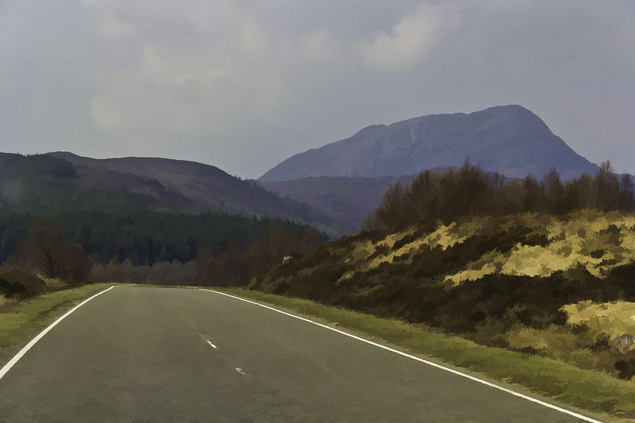 Canon Digital Art - Highway Running Through The Wilderness Of The Scottish Highlands by Ashish Agarwal
