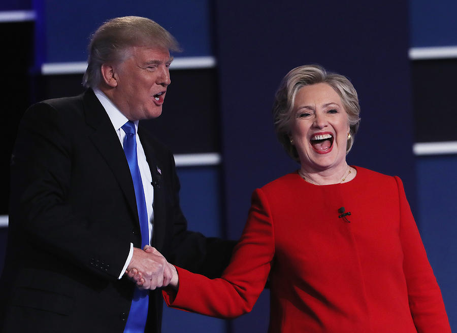 Hillary Clinton And Donald Trump Face Off In First Presidential Debate At Hofstra University Photograph by Spencer Platt