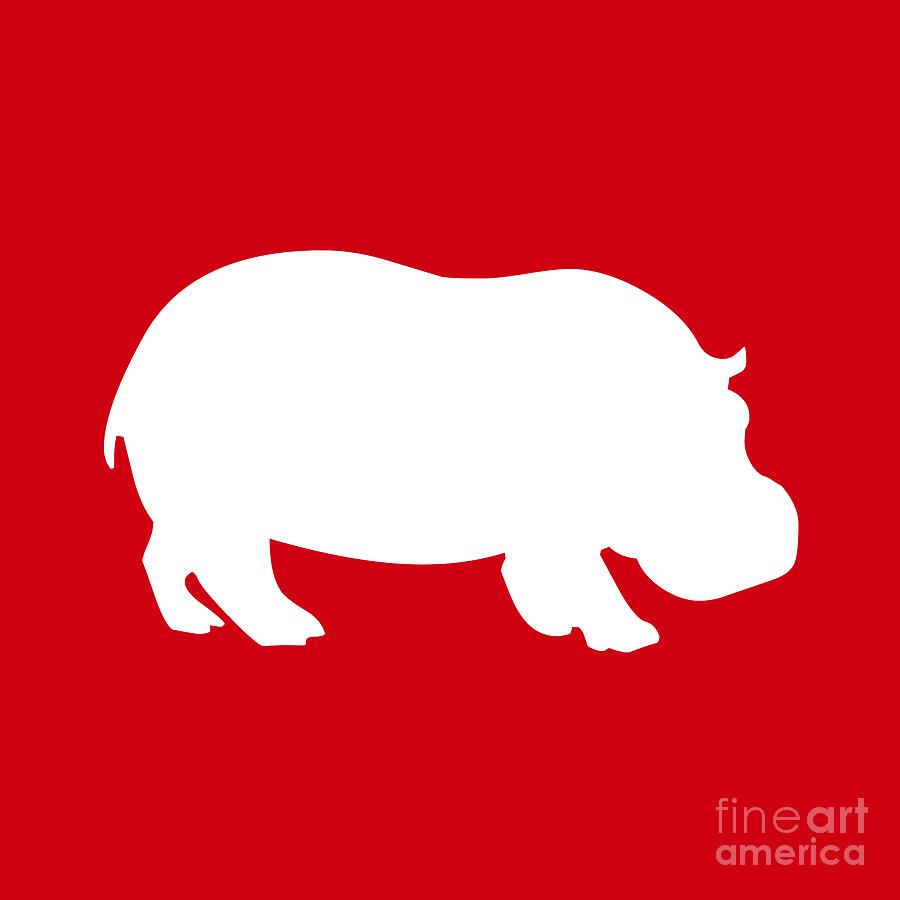 Print Digital Art - Hippo In Red And White by Jackie Farnsworth
