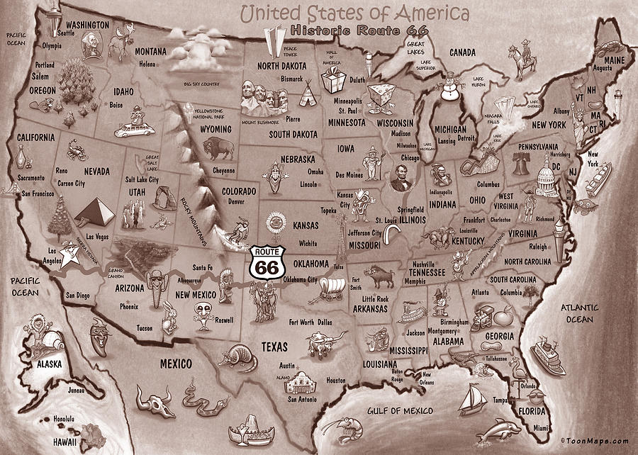 Historic Route 66 Cartoon Map Painting
