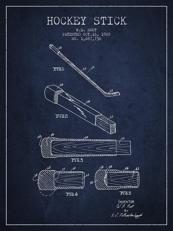 Hockey Digital Art - Hockey Stick Patent Drawing From 1928 by Aged Pixel