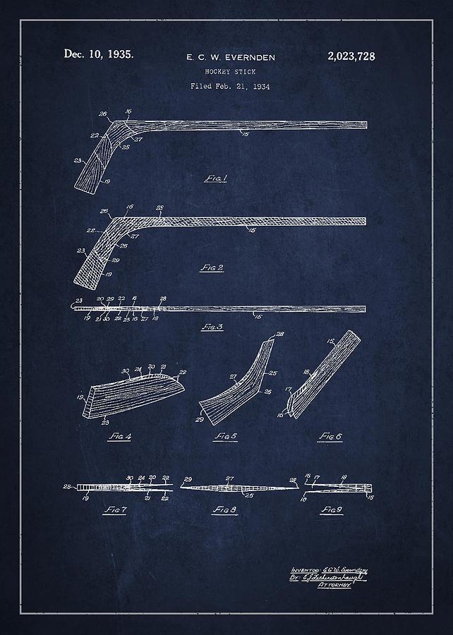 Hockey Stick Patent Drawing From 1934 Digital Art