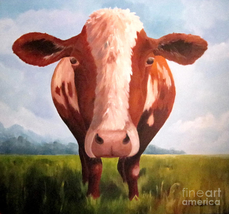 Cow Painting - Holy Cow by Paula Marsh