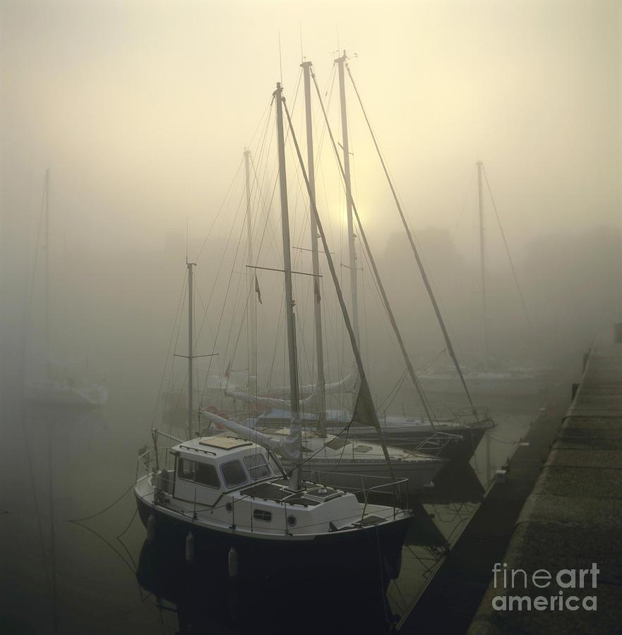 Honfleur Harbour In Fog. Calvados. Normandy. France. Europe Photograph by Bernard Jaubert