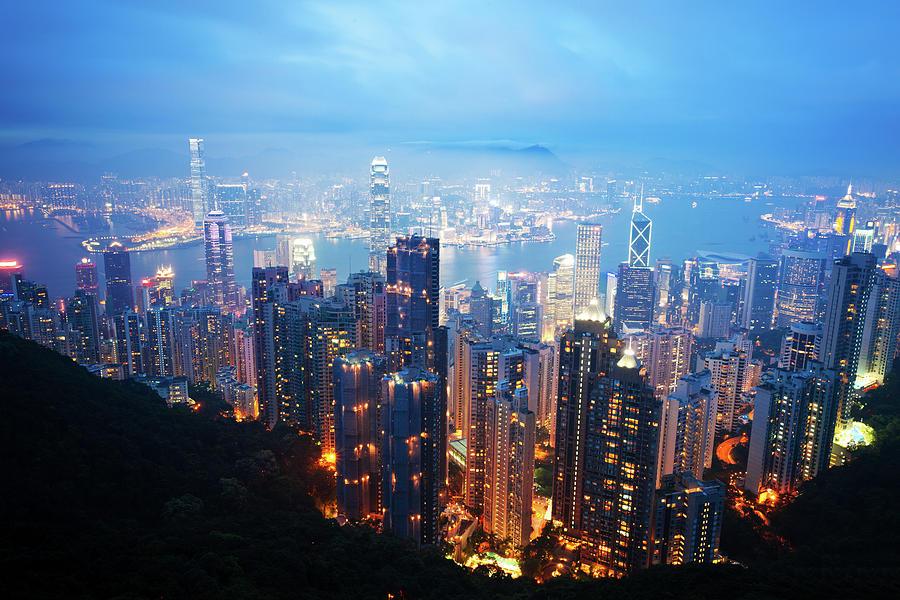 Hong Kong Skyscrapers At Night Photograph by Fzant