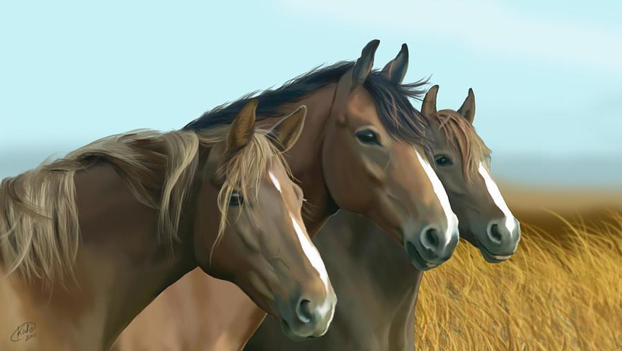 Equine Digital Art - Hope Of The Mustangs by Kate Black
