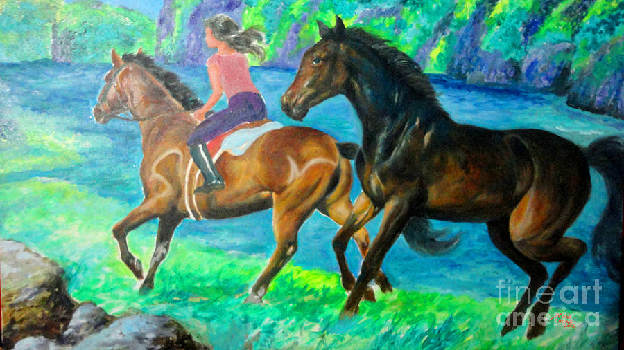 Horse Painting - Horse Riding In Lake by Manuel Cadag