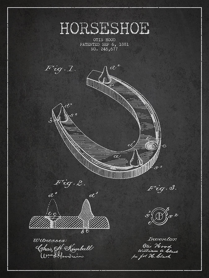 Horseshoe Drawing - Horseshoe Patent Drawing From 1881 by Aged Pixel