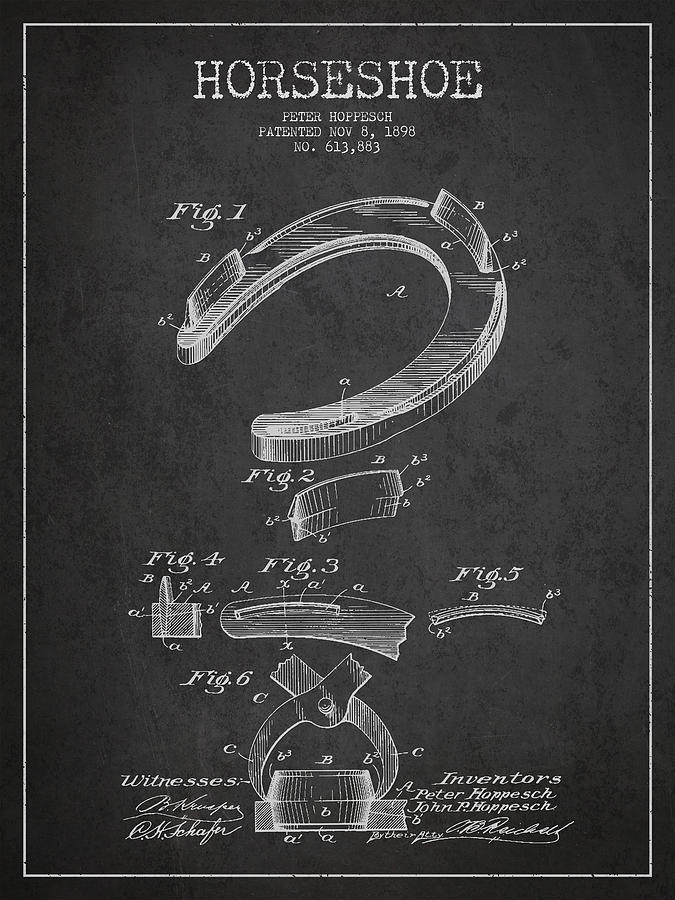 Horseshoe Drawing - Horseshoe Patent Drawing From 1898 by Aged Pixel