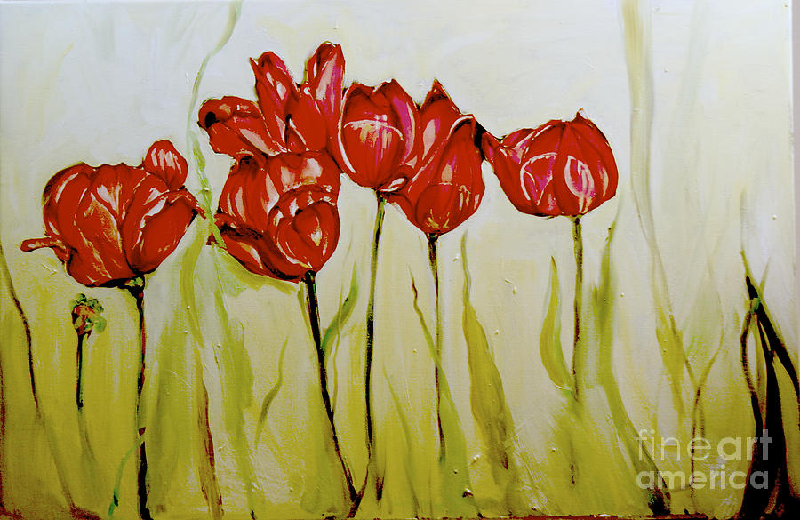 Flowers Painting - Hot Tulips by Shelley Laffal