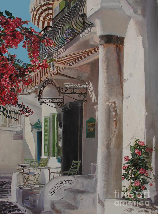 Greece Painting - Hotel Zorziz Mykonos Greece by Debra Chmelina