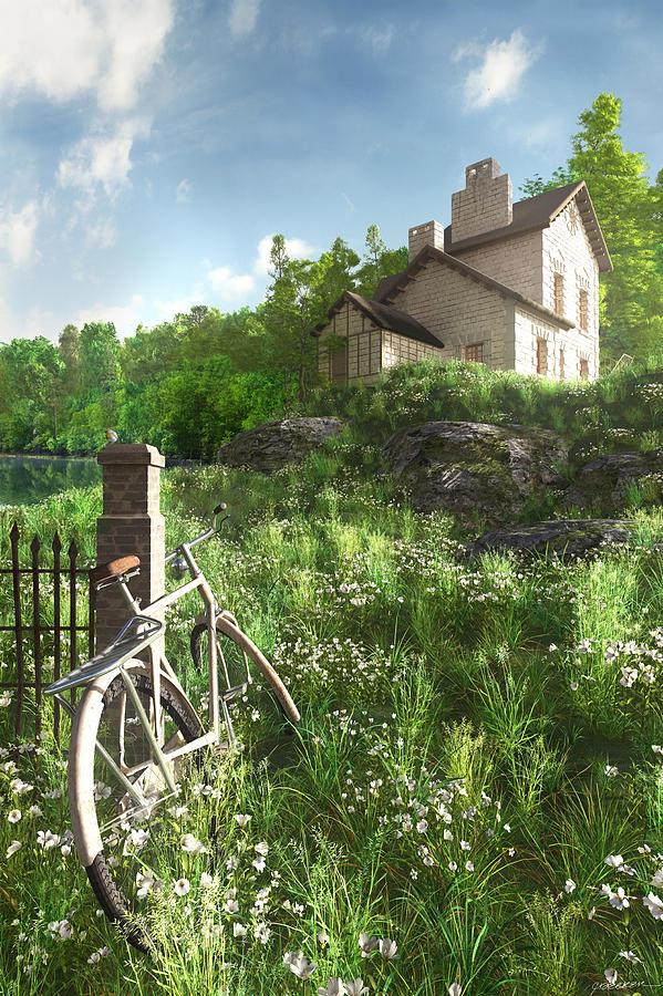 House Digital Art - House On The Hill by Cynthia Decker