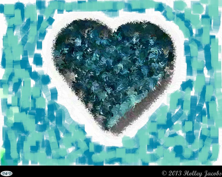 Abstract Digital Art - How Do I Live Teal by Holley Jacobs