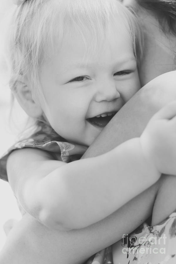Mother Photograph - Hugging Mother And Daughter In Black And White by Jorgo Photography - Wall Art Gallery