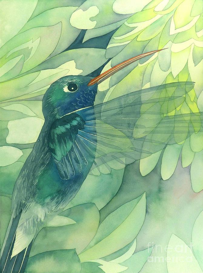 Watercolor Painting - Hummingbird And Chrysanthemum by Robert Hooper